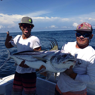 Captain and crew reel in game fish averaging 80 -100 pounds with Costa Rica Reef Adventures private charter boat, the Cowboy.