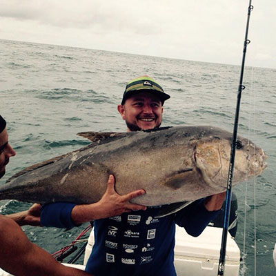 Gigantic tuna caught during a private charter tour with Costa Rica Reef Adventures off the coast of Nosara, Costa Rica.